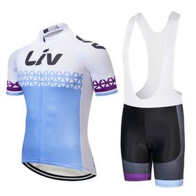 Set Ciclismo Liv Beliv 2018 Azul Mujer, Jersey + Short Bib