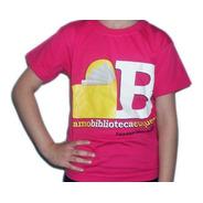 Camiseta Infantil Campanha  Eu Amo Biblioteca Eu Quero