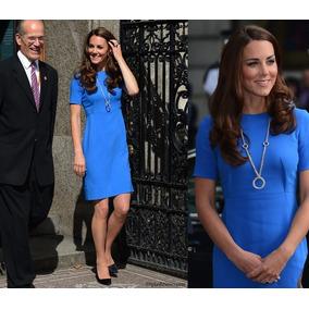 Vestido Tubinho Azul Igual Da Princesa Kate