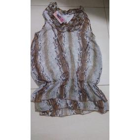 Camisa Blusa De Mujer De Gasa Animal Print Nueva Larga