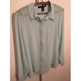 Camisa Verdeagua Semitransparente De Forever 21