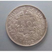 Bolivia, 50 Centavos 1902 - Plata - Excelente