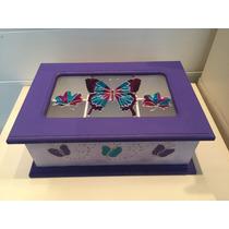 Caja De Té 6 Divisiones Color, Con Vidrio Pintado