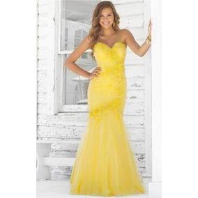 Vestido De Renda Festa Sereia Amarelo Grife 38/40.