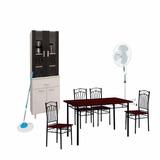Cristalero + Juego Comedor 4 Sillas + Ventilador De Pie Xion
