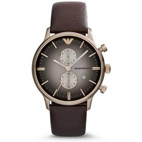 Relógio Emporio Armani Ar1755 Pulseira Couro Marrom Na Caixa