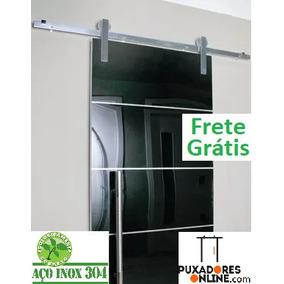 Kit Porta De Correr Roldana Aparente Inox Light Trilho 2mt