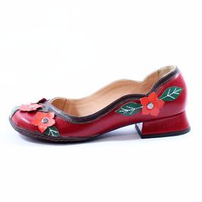 Sapato Zpz Vintage Retrô Bico Redondo Salto Grosso 0867