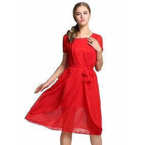 Tsuki Moda Asiatica: Vestido Chifon Elegante Fiesta Cinto