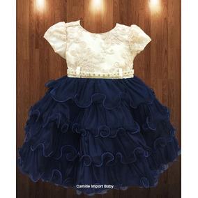 Vestido Infantil Princesa Daminha Realeza Azul Luxo E Tiara