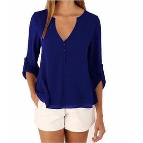 Camisa Social Feminina Blusa Lisa Manga Longa Regular#16001