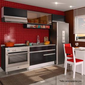 Cozinha Compacta Marina Branco/ Ébano/ Preto
