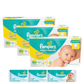 Kit Pampers Fralda Rn Plus 38 Un + Toalhas Umedecidas 144 Un