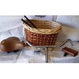 Kit Vintage Manubrio + Canasto De Mimbre + Asiento + Manopla