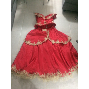 Vestido Sencillo Para Xv Color Rojo Con Estampado Dorado