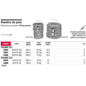Alambre De Púas Rollo De 300 M Clave Alpu15-300 44 44887