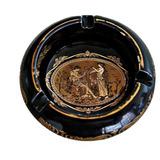 Antiguo Cenicero Griego Pintado A Mano Oro 24 Kilates