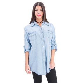 Camisa De Jean Celeste 8 Talles Axioma