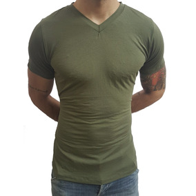 Camisa Slim Gola V Rasinha Masculina Elastano Manga Curta