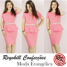 Vestido Moda Evangélica Peplum Crepe Elastano 0010