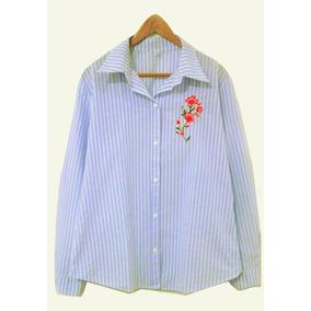 Camisa Rayas Bordada Tendencia Verano 2018