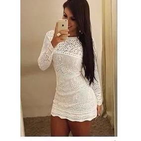 Lindo Vestido Croche Manga Longa