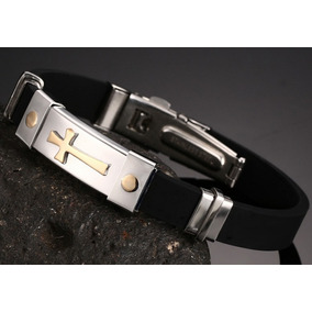 Pulseira Bracelete Masculina Silicone Aço Inox 316l