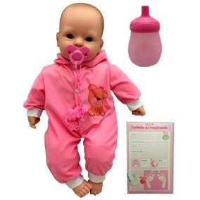 Boneca Bebê Recém Nascida Pijama Rosa Tipo Reborn Divertoys