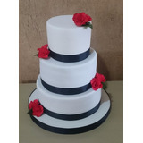 Torta Decorada 3 Kg + 2 Pisos Falsos Bodas Casamiento 15años