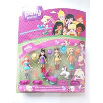 4 Bonecas Polly Pocket Com Acessórios Pvc Brinquedo Meninas