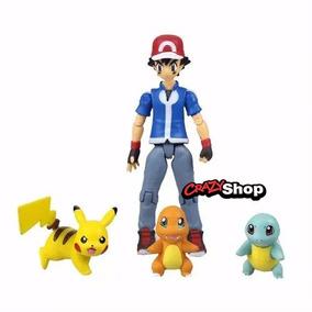 Pokémon Ash Articulado Pikachu Squirtle Charmander Boneco