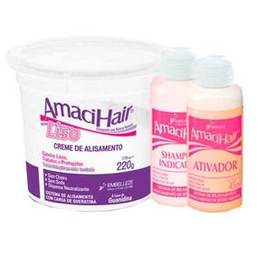 Kit Amacihair Baldinho Creme + Ativador + Shampoo Cabelos Li