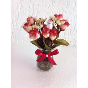 Vaso Vidro De Flores Artificiais Bordôs - Mini Rosas