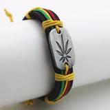 Bracelete Pulseira Reggae Jamaica Paz Amor Folha Da Sorte