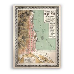 Mural Decorativo Mapa Plano De Coquimbo De 1895 - Lámina Map