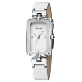 Relógio Feminino Retangular Pulseira Branca Kimio Kw503s Nfe