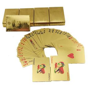 Baralho Dourado Folheado Poker Truco Cartas Jogos