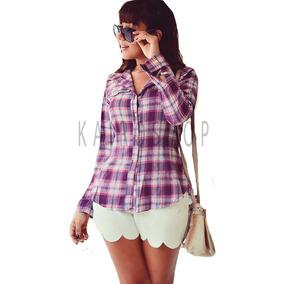 Blusa Camisa Feminina Xadrez Flanelado