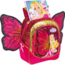 Mochila Escolar Barbie Butterfly Gd 3bolsos Rs Un.