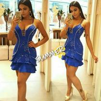 Vestido Hap Look Curto Festa Azul Bordado Pedraria Babado