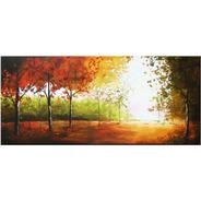 Quadro Pintura Tela Abstrata Árvores De Outono