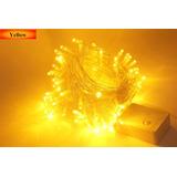Pisca 100 Lâmpadas Led 8 Funções Amarelo C/ Fio Transparente