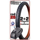 2 Cubiertas + 2 Camaras Rodado 26 Bicicleta Playera O T.t