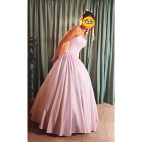 Vestido De 15 Lila Suave Largo Bordado Sutil - Envio Gratis