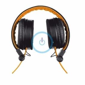 Headset Dobrável Com Microfone Para Músicas Laranja E Preto