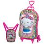 Mochila Escolar + Lancheira Mochilete 3d Hello Kitty 3 Rodas