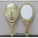 01 Espelho Mão Mesa Dourado Branca Neve Princesa Tam G 26cm