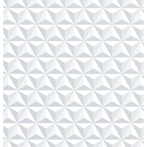 Papel Parede Branco - Aspecto 3d Geométrico Adesivo -1384