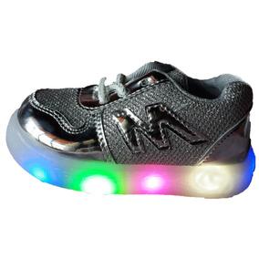 Zapatillas Plateadas Con Luces Calzados Niñas Niños Luz Led