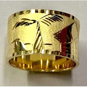 Anel Aliança Escrava Egípcio 12mm Ouro 18k 750